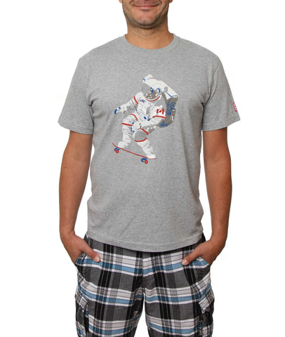 Official Chris Hadfield Skateboarding Astronaut Men's T-Shirt (Grey Mix)