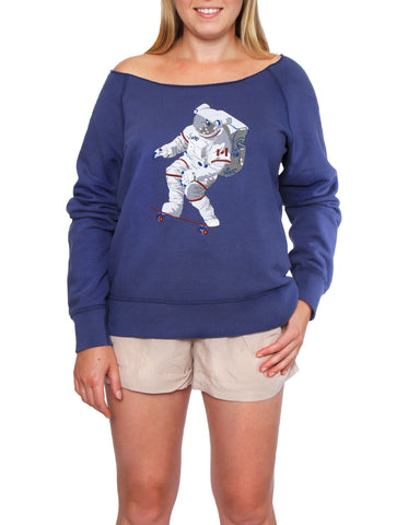 Official Chris Hadfield Skateboarding Astronaut Women's Boat Neck (Royal)