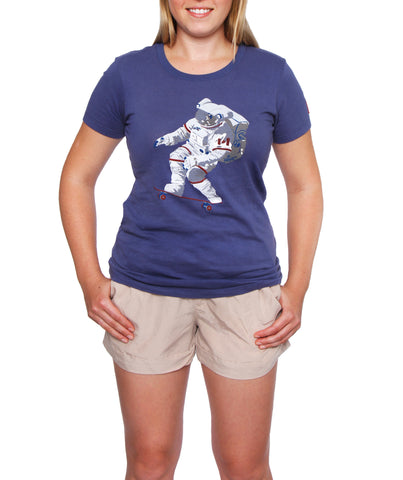 Official Chris Hadfield Skateboarding Astronaut Women's T-Shirt (Royal)