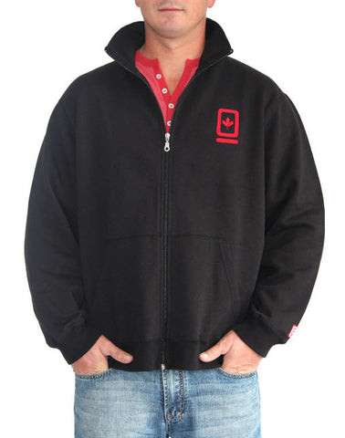 60°N 95°W Men's black full-zip mock neck sweater