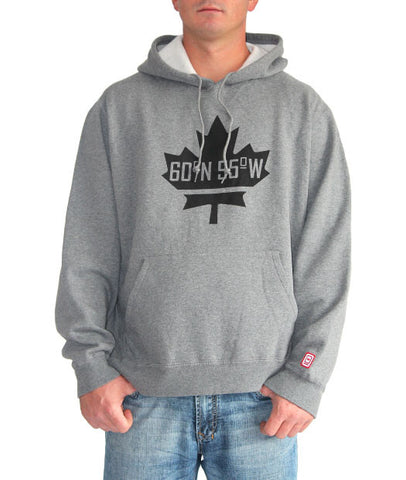 60°N 95°W Men's charcoal grey kangaroo hoodie