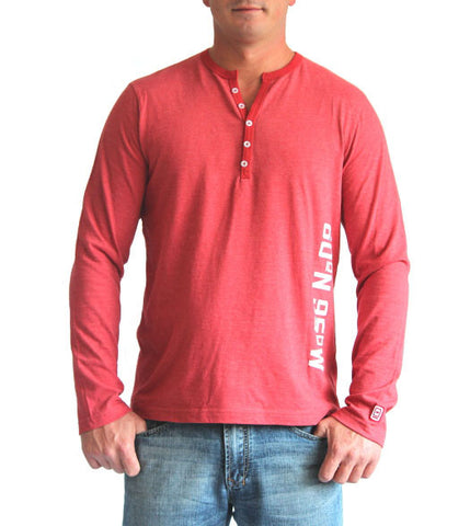60°N 95°W Men's faded red 5 button henley