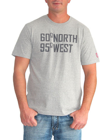 60°N 95°W Men's grey crewneck t-shirt