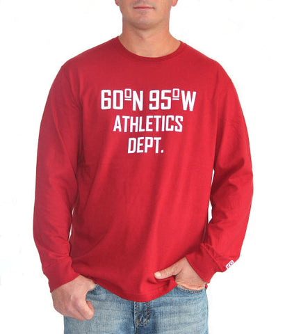 60°N 95°W Men's harvest red long sleeve t-shirt