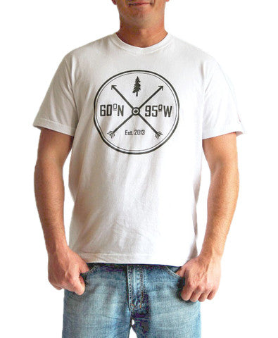 60°N 95°W Men's white crewneck t-shirt