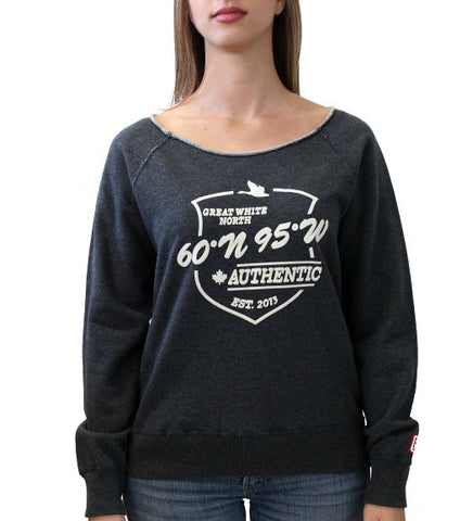 60°N 95°W Women's charcoal grey boat neck sweater