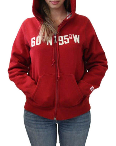60°N 95°W Women's harvest red full-zip hoodie