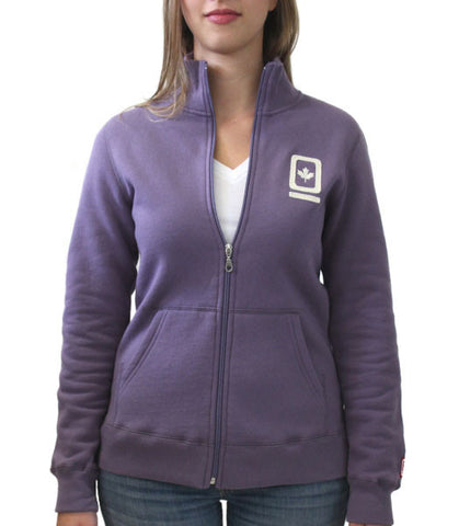 60°N 95°W Women's lavender full-zip mock neck sweater
