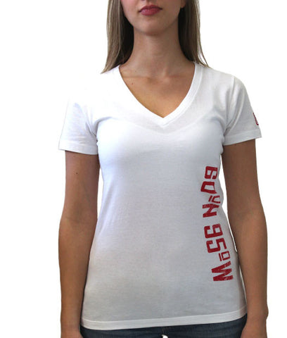 60°N 95°W Women's white v-neck t-shirt