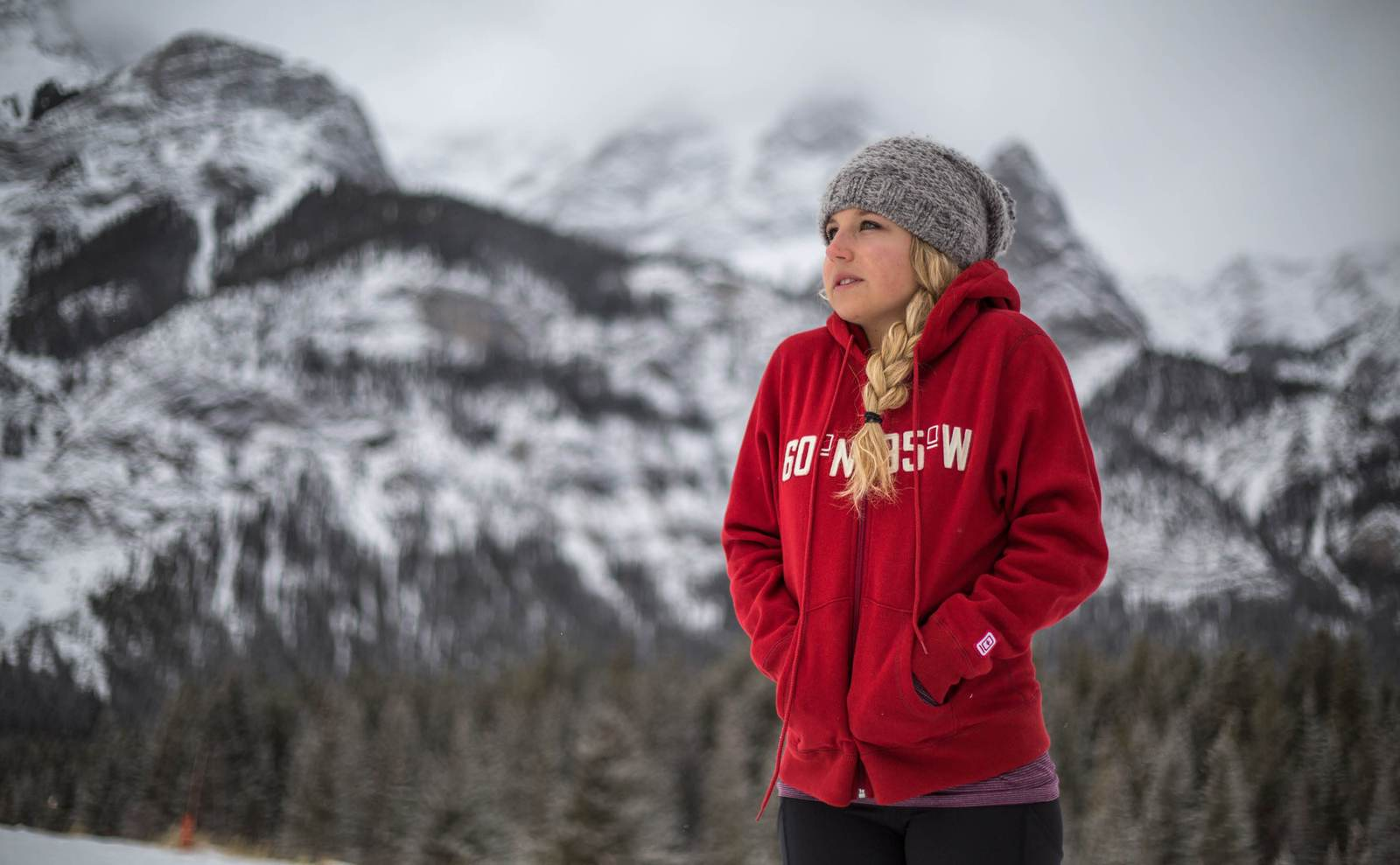 Women's 60°N 95°W logo harvest red full-zip hoody