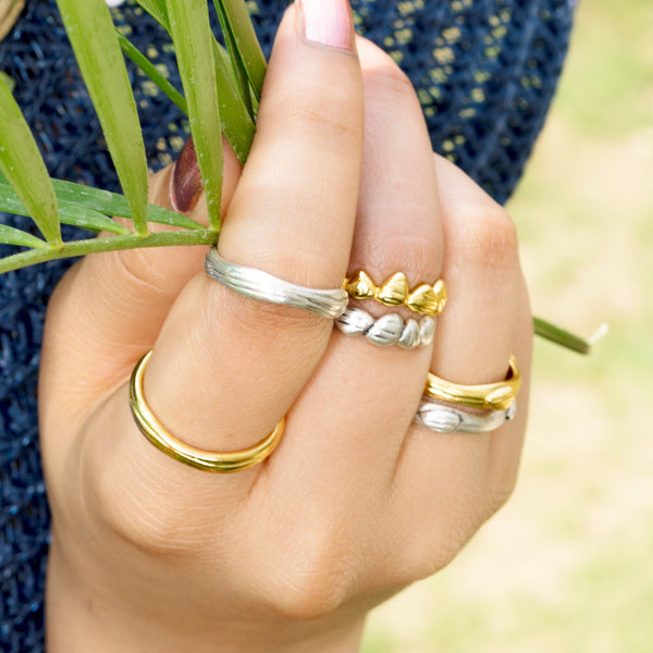 Kimana Lady Gold Plated Textured Ring Sterling Silver  (Stackable Rings)