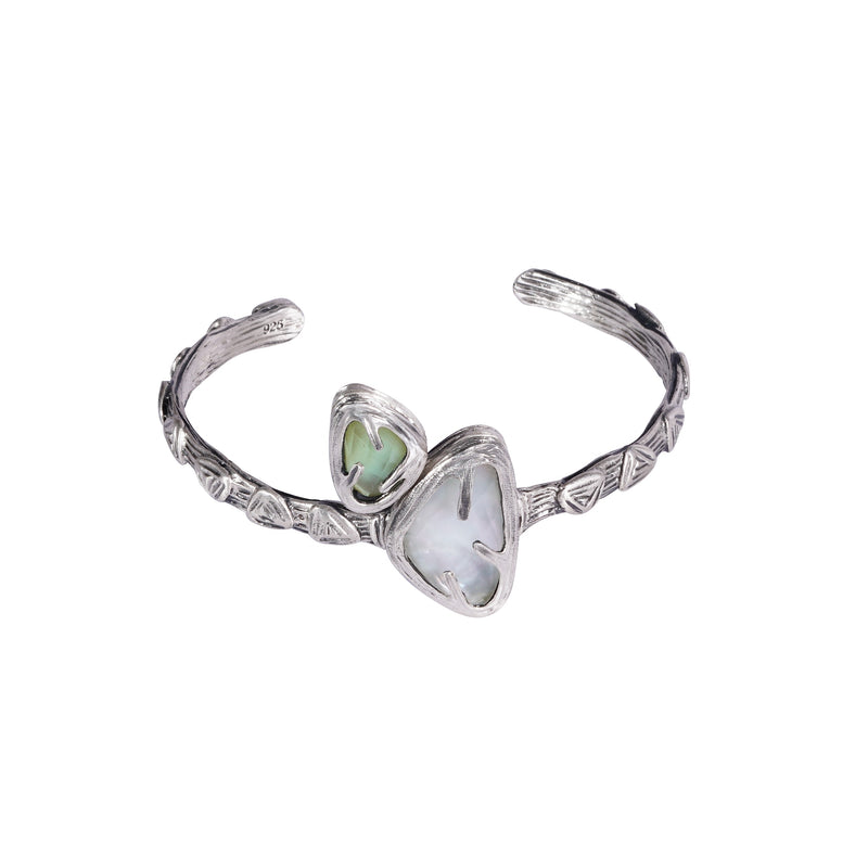 Kimana Lady Duo stone textured Sterling Silver Cuff Bracelet