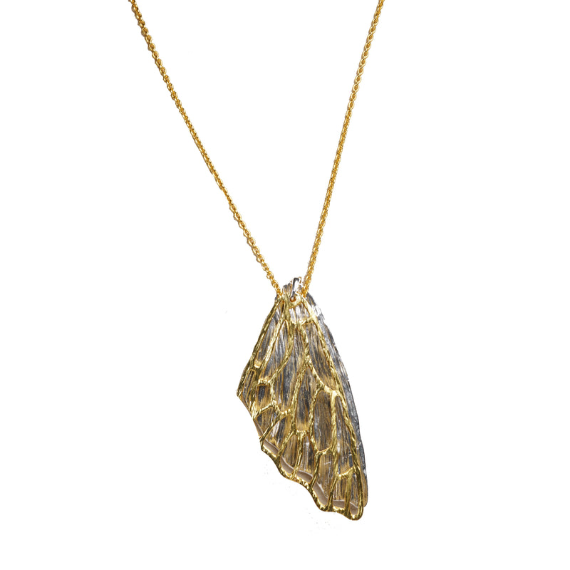Kimana Lady Wing Shaped Pendant Necklace, 24K Gold Plated Pendants Necklace