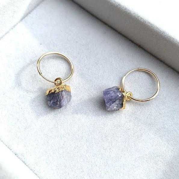 Birthstone Hoop Earrings — (December) Tanzanite - Decadorn