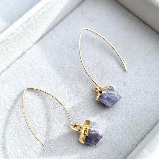 Birthstone Dropper Earrings - DECEMBER, Tanzanite - Decadorn