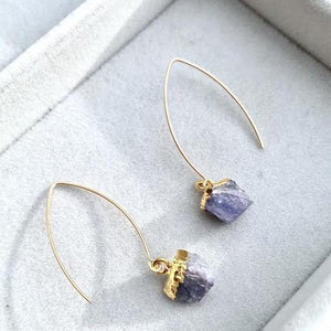Birthstone Dropper Earrings — (December) Tanzanite - Decadorn