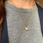 Mini Circle Pendant Necklace - Kiwi Jasper - Decadorn