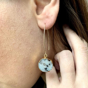 Mini Circle Dropper Earrings - Kiwi Jasper - Decadorn