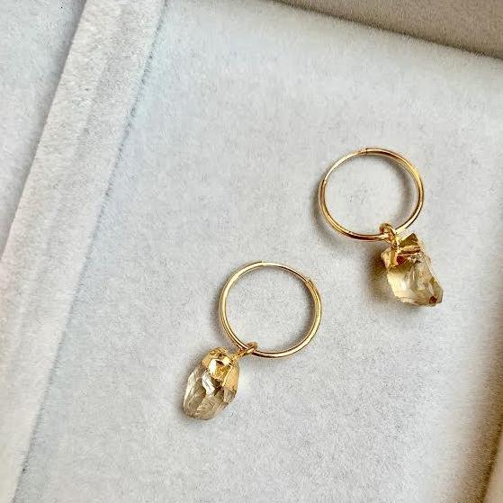 Birthstone Hoop Earrings - NOVEMBER, Citrine