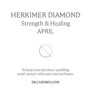 Birthstone Dropper Earrings - Sterling Silver - APRIL, Herkimer Diamond - Decadorn