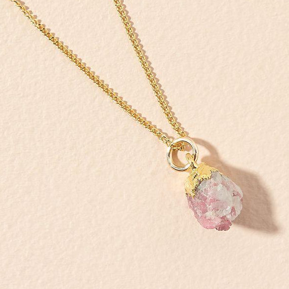Birthstone Necklace - OCTOBER, Pink Tourmaline - Decadorn