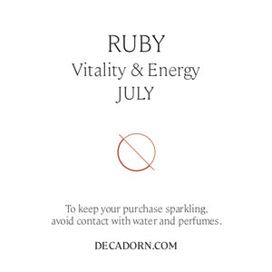 Birthstone Hoop Earrings - JULY, Ruby - Decadorn
