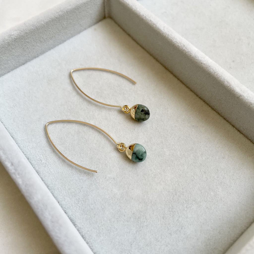 Tiny Tumbled Gemstone Dropper Earrings - MAY, Emerald - Decadorn