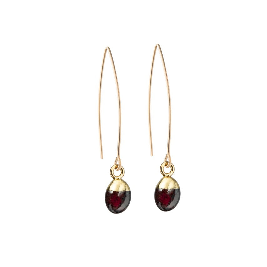 Tiny Tumbled Gemstone Dropper Earrings - JANUARY, Garnet - Decadorn