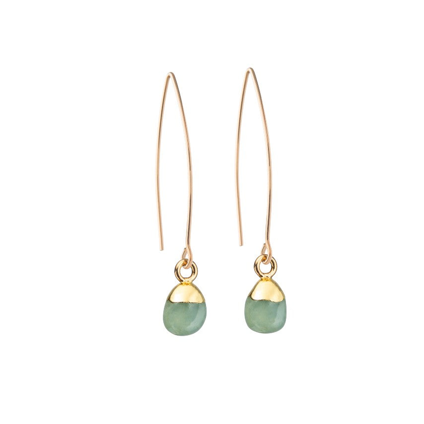 Tiny Tumbled Gemstone Dropper Earrings - MARCH, Aquamarine - Decadorn