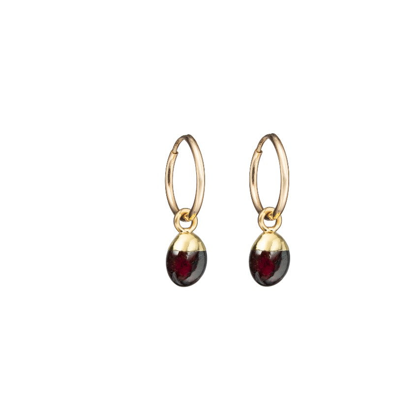 Tiny Tumbled Gemstone Hoop Earrings - JANUARY, Garnet - Decadorn