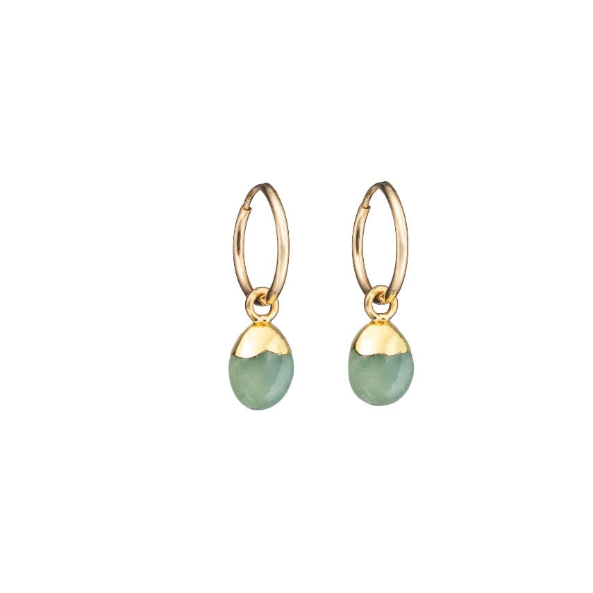 Tiny Tumbled Gemstone Hoop Earrings - MARCH, Aquamarine - Decadorn