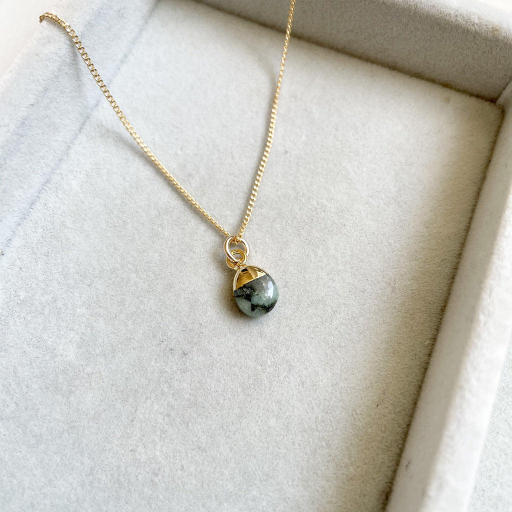 Tiny Tumbled Gemstone Necklace - MAY, Emerald - Decadorn