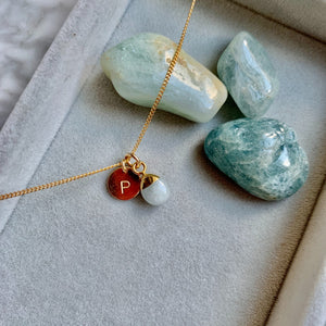 Tiny Tumbled Gemstone Necklace - MARCH, Aquamarine - Decadorn