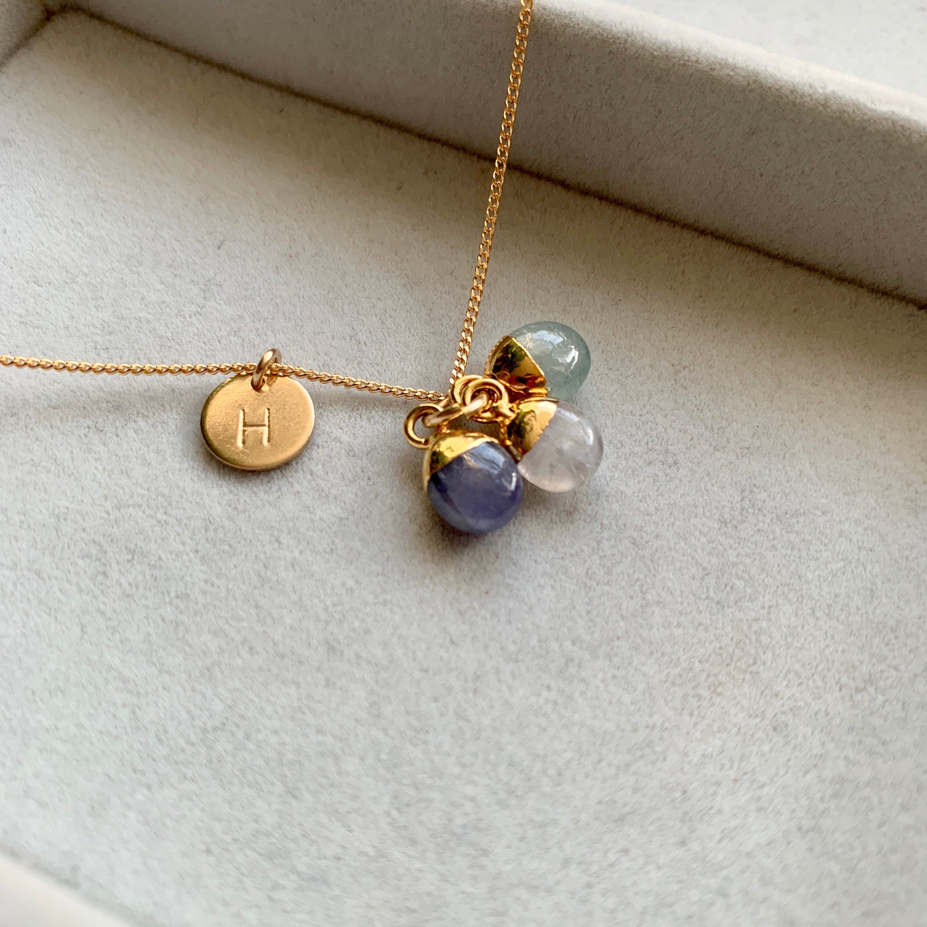 Personalised Family Birthstone Triple Necklace - Tiny Tumbled (Gold Plated) - Decadorn