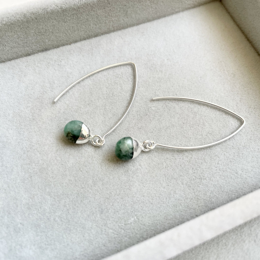 Tiny Tumbled Gemstone Dropper Earrings - Silver - May, Emerald - Decadorn