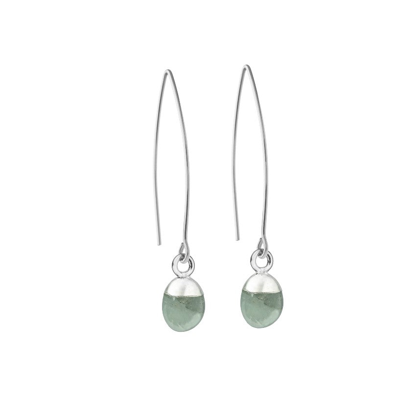 Tiny Tumbled Gemstone Dropper Earrings - Silver - MARCH, Aquamarine - Decadorn