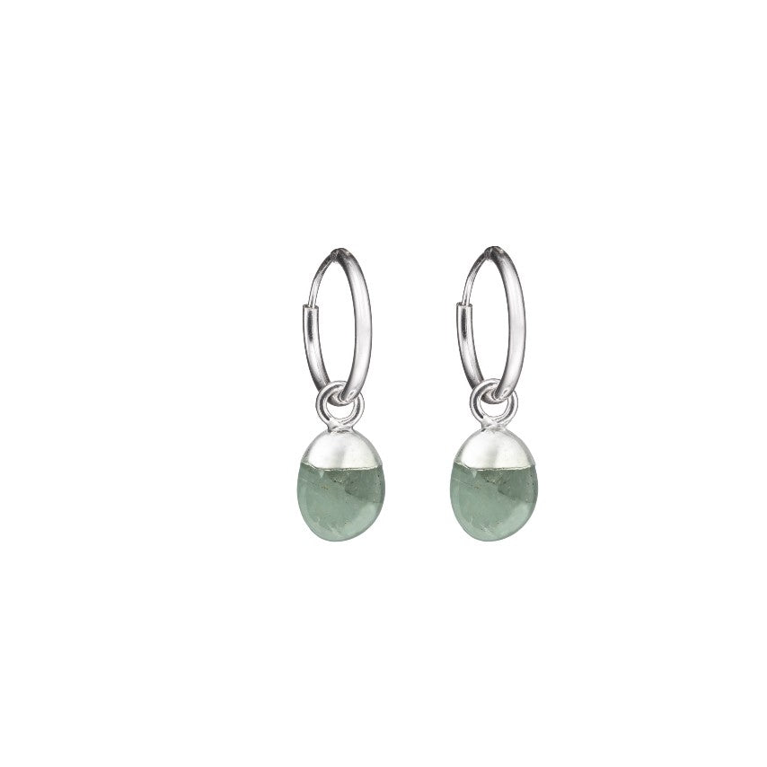 Tiny Tumbled Gemstone Hoop Earrings - Silver- MARCH, Aquamarine - Decadorn