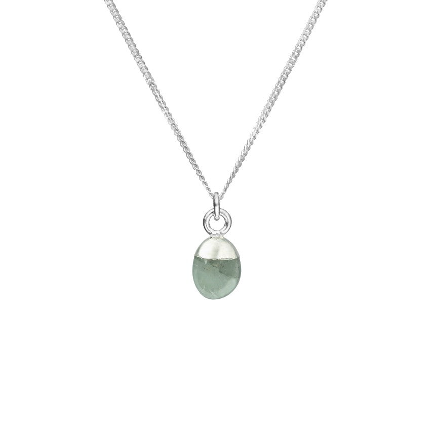 Tiny Tumbled Gemstone Necklace - Silver - MARCH, Aquamarine - Decadorn
