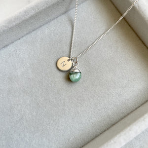 Tiny Tumbled Gemstone Necklace - Silver - MAY, Emerald - Decadorn
