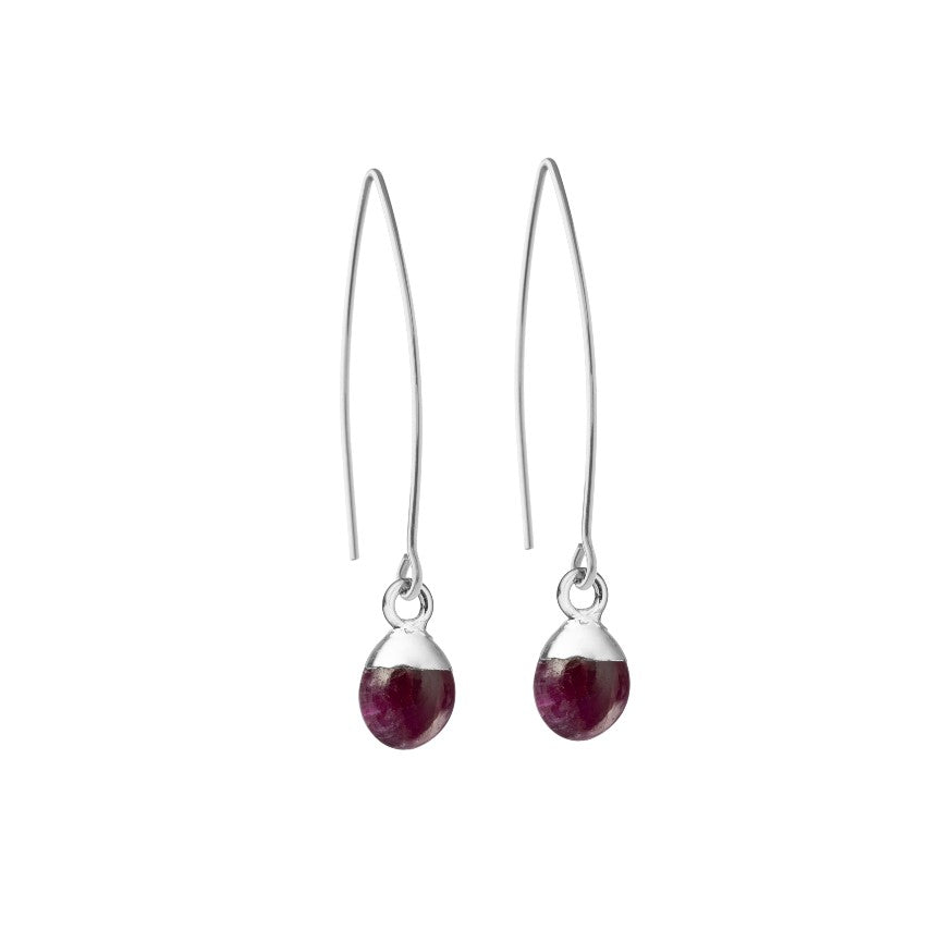 Tiny Tumbled Gemstone Dropper Earrings - Sterling Silver - JANUARY, Garnet - Decadorn