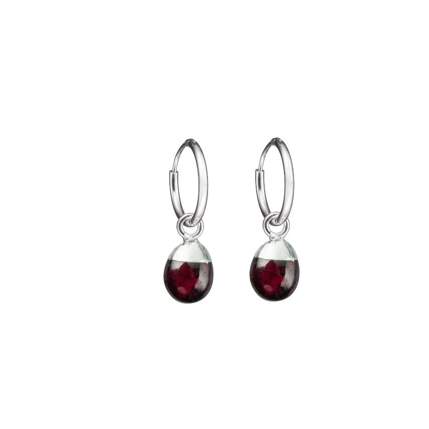 Tiny Tumbled Gemstone Hoop Earrings - Silver - JANUARY, Garnet - Decadorn