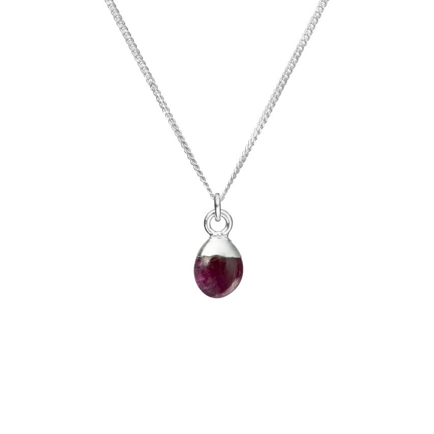 Tiny Tumbled Gemstone Necklace - Sterling Silver - JANUARY, Garnet - Decadorn