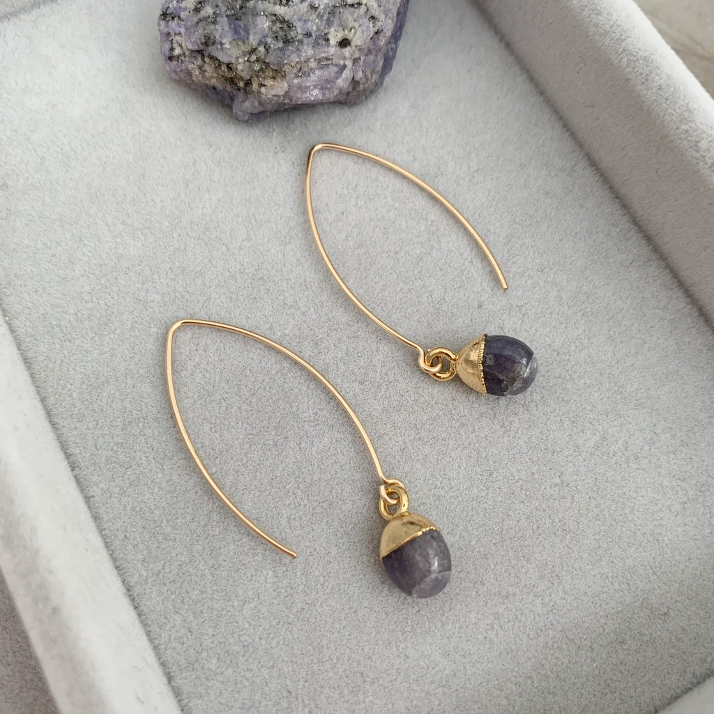 Tiny Tumbled Gemstone Dropper Earrings - DECEMBER, Tanzanite - Decadorn