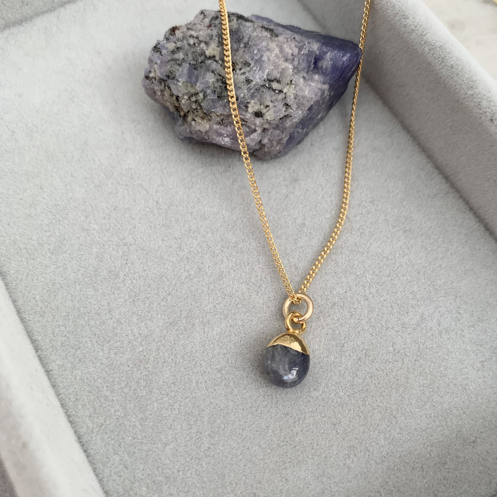 Tiny Tumbled Gemstone Necklace - DECEMBER, Tanzanite - Decadorn