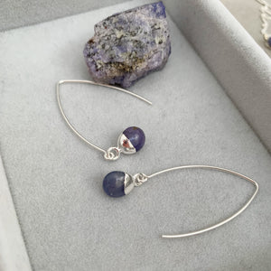 Tiny Tumbled Gemstone Dropper Earrings - Silver - DECEMBER, Tanzanite - Decadorn