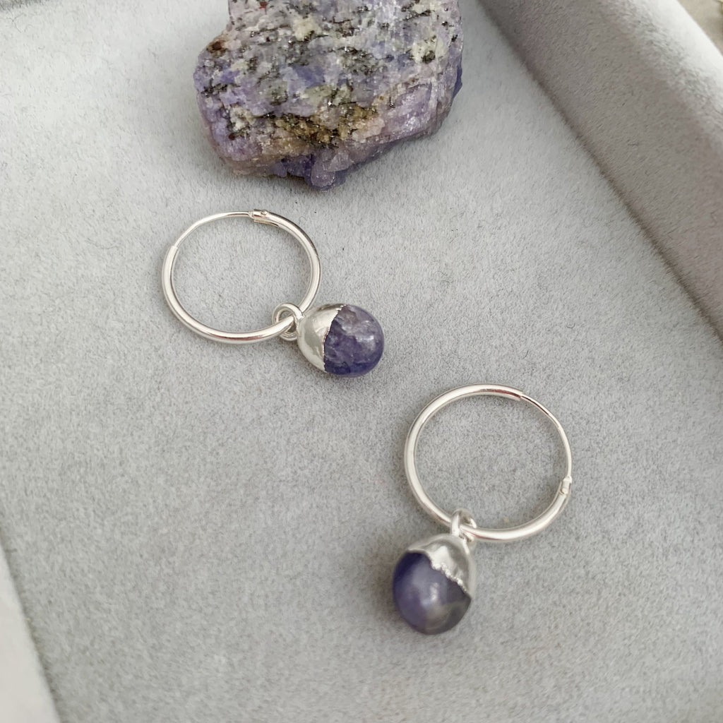 Tiny Tumbled Gemstone Hoop Earrings - Silver - DECEMBER, Tanzanite - Decadorn