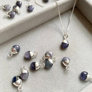 Tiny Tumbled Gemstone Necklace - Silver - DECEMBER, Tanzanite - Decadorn