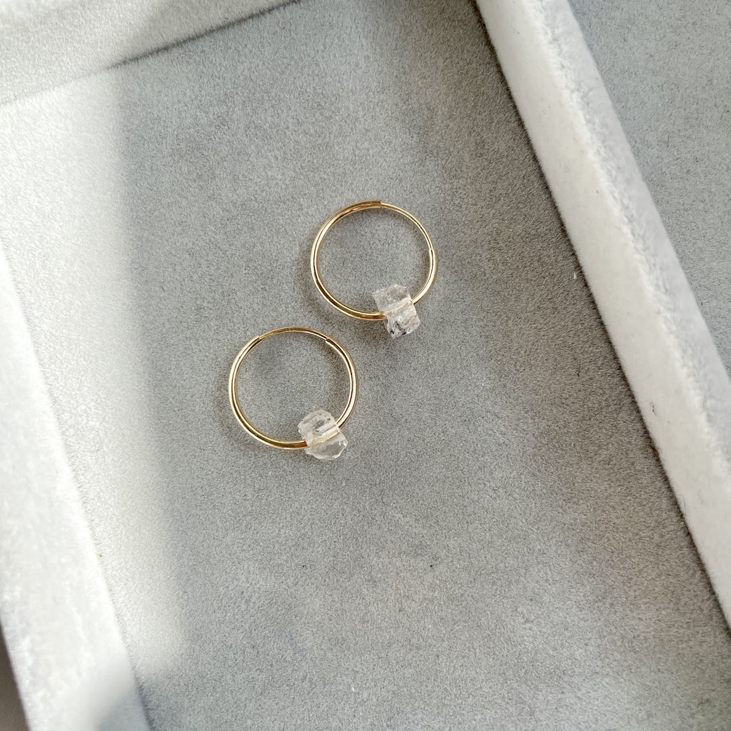 Floating Clarity Crystal Hoop Earrings - APRIL, Herkimer Diamond - Decadorn