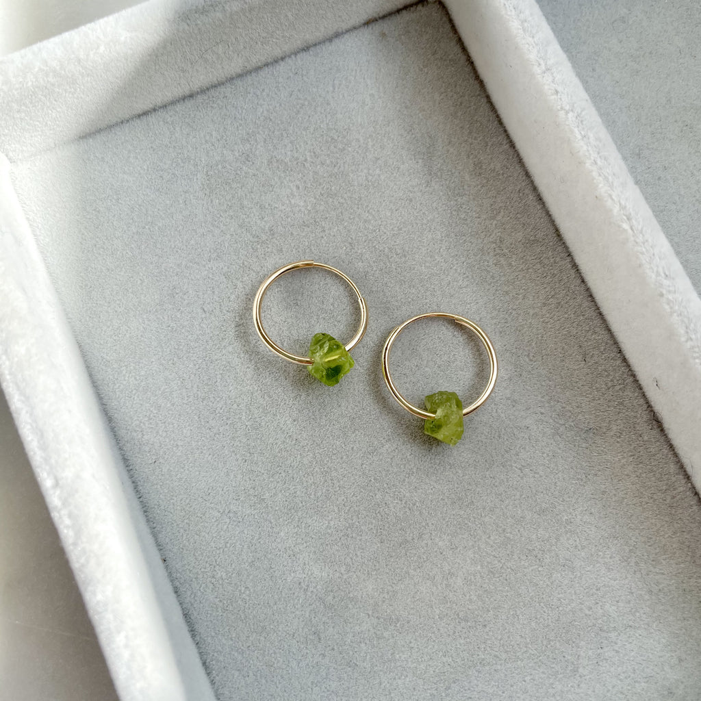 Floating Clarity Crystal Hoop Earrings - AUGUST, Peridot - Decadorn