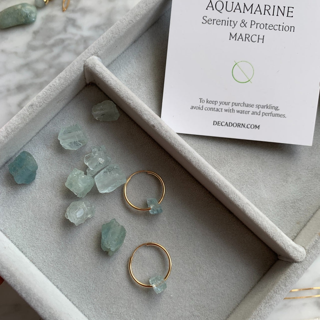 Raw Floating Clarity Crystal Hoop Earrings - MARCH, Aquamarine